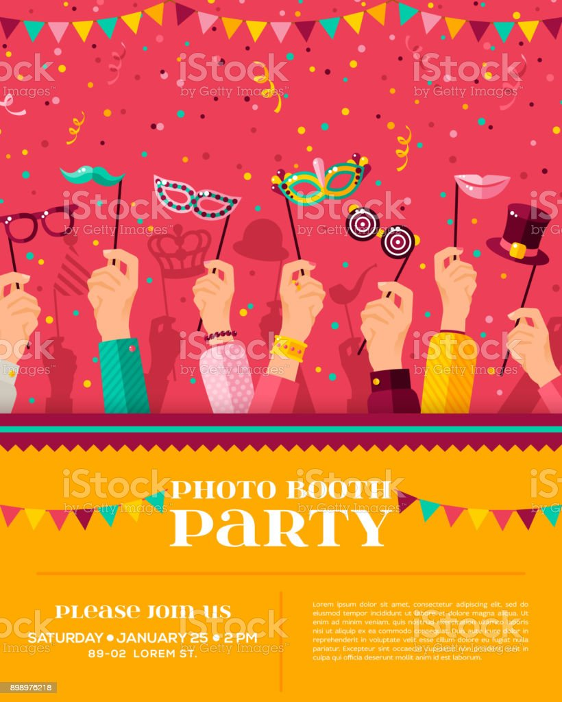 Carnival photo booth party poster vector art illustration