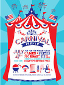 Vector illustration of a Carnival Picnic Fourth of July Party Invitation with Tent. Includes lot's of party picnic icons with american flag textures and color palette. Easy to edit with layers. EPS 10