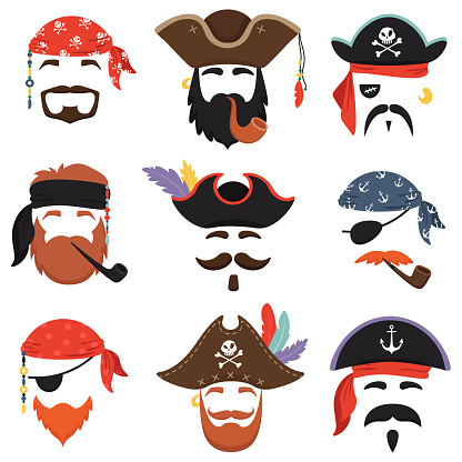 Carnival pirate mask. Funny sea pirates hats, journey bandana with dreadlocks hair and smoke pipe isolated masks vector set