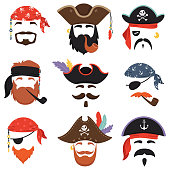 Carnival pirate mask. Funny sea pirates hats, journey bandana with dreadlocks hair and smoke pipe isolated masks. Kids birthday party accessories or mobile app mask cartoon vector isolated icons set