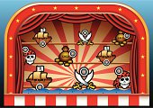 Illustration of a Pirate Shoot amusement found at a carnival or fairground.
