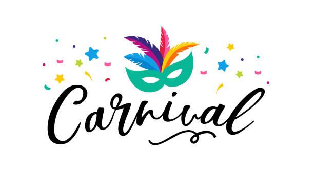 ilustrações, clipart, desenhos animados e ícones de cartaz de carnaval, banner com elementos coloridos festa - máscara, confete, estrelas e espirra - carnaval