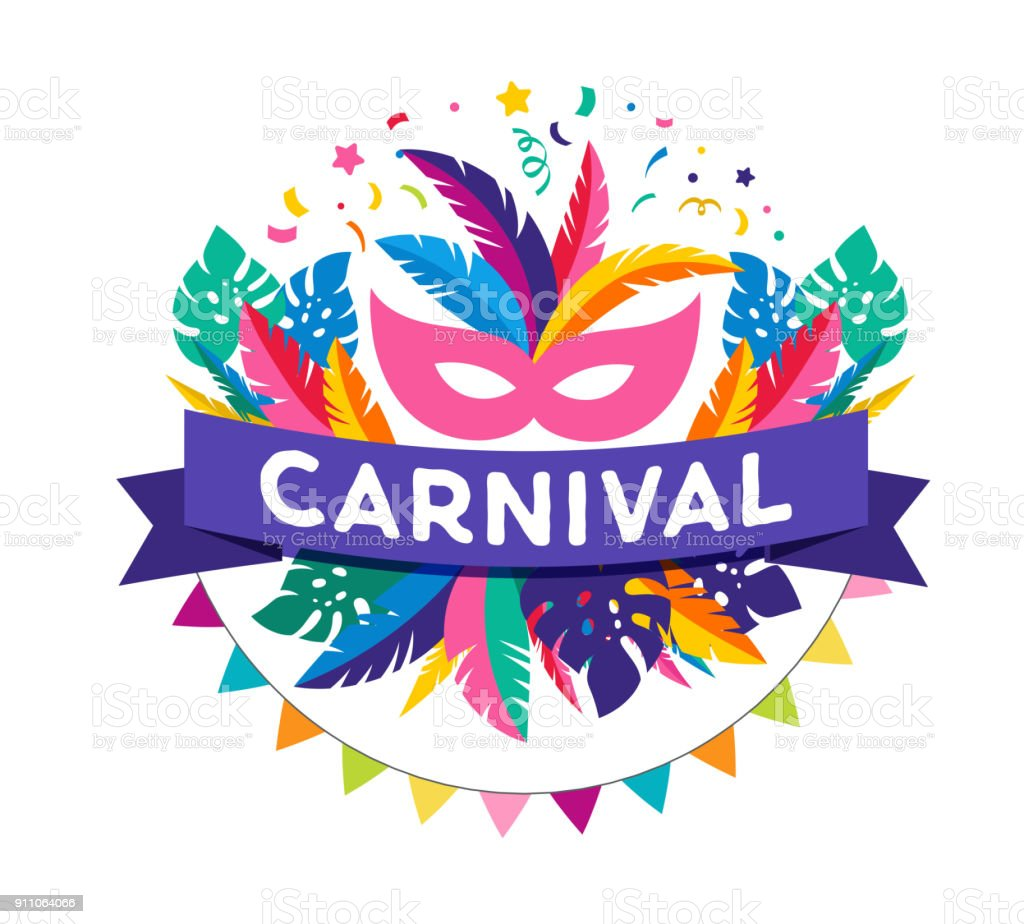 Carnival poster, banner with colorful party elements - mask, confetti, stars and splashes vector art illustration