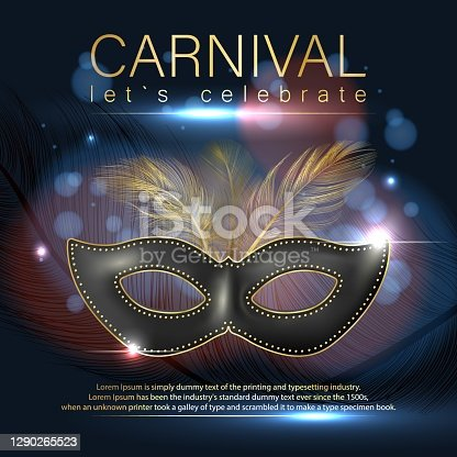istock Carnival poster with realistic mask. A luxurious mask with feathers. Banner for the carnival. Venice Carnival. Vector illustration 1290265523