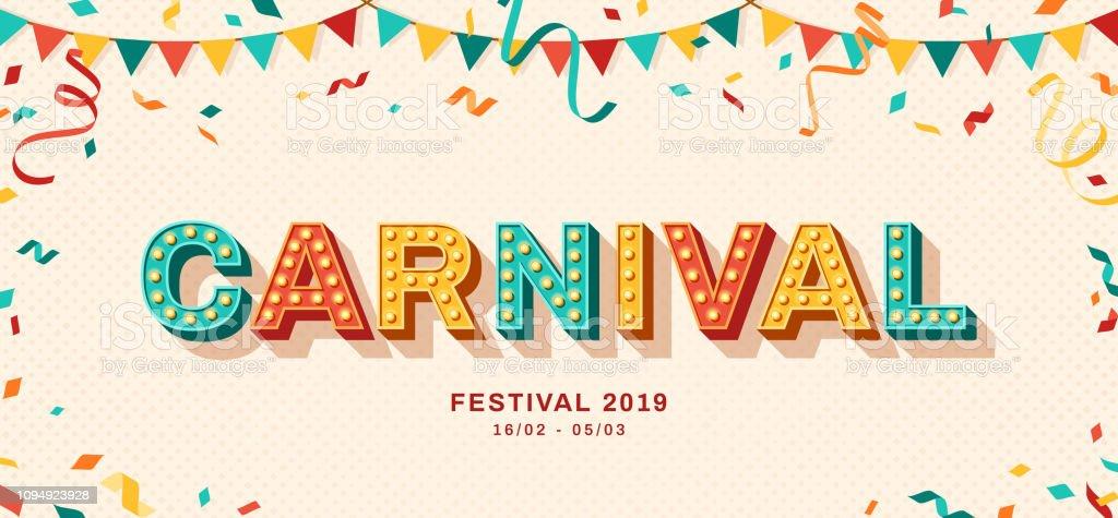 Karnaval retro tipografi tasarım - Royalty-free ABD Güney Kıyısı Eyaletleri Vector Art