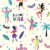 Carnival Seamless Pattern with Dancing Character People. Masqeurade Party Background with Masks and Festive Symbols for Fabric, Wallpaper. Vector illustration