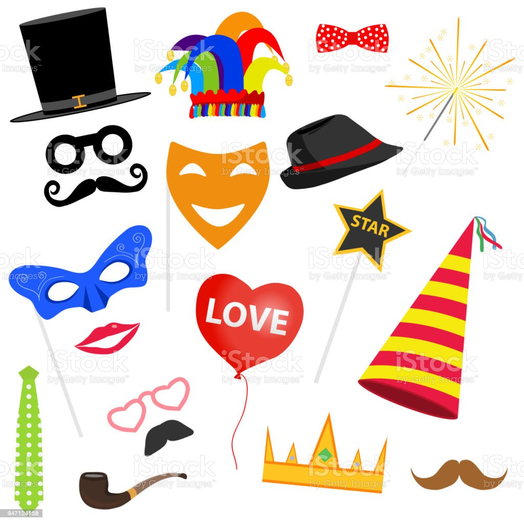 Ilustración de Juego De Carnaval Máscaras De La Mascarada Un Gorro ... eee6ac9644c