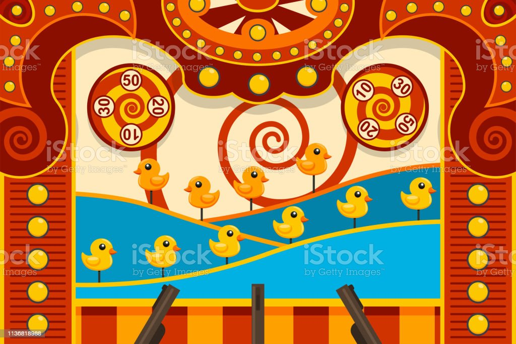 Carnival Shooting Arcade Game With Duck And Gun Vector