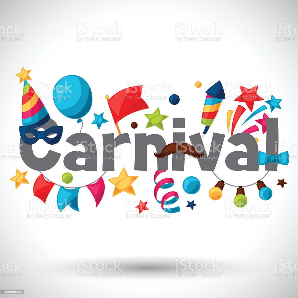 Carnival show and party greeting card with celebration objects vector art illustration