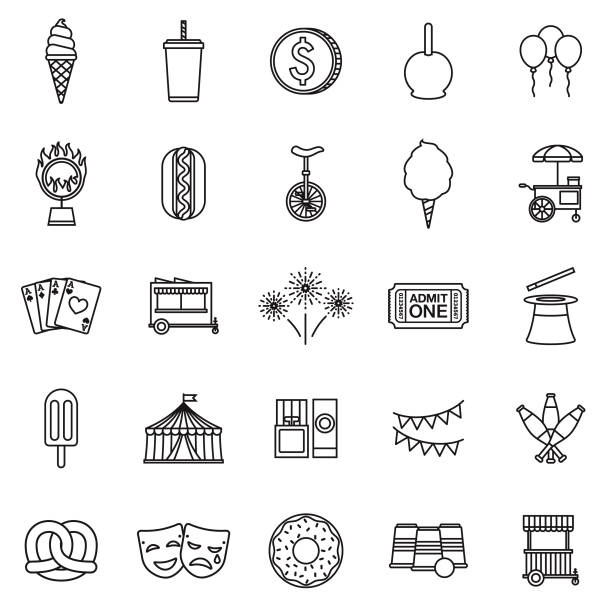 Carnival Thin Line Outline Icon Set A group of 25 black and white thin line icons. File is built in the CMYK color space for optimal printing, with 100% black and white swatches. Icons are grouped and easy to isolate. candy clipart stock illustrations