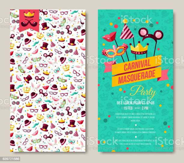 Carnival two sides poster, flyer or invitation design. Vector illustration. Funfair funny tickets design with pattern and emblem. Place for your text message.