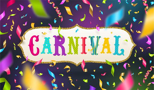 Carnival type design in glitter gold frame