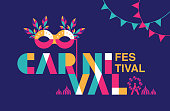 Carnival Typography, Popular Event in Brazil. Festival, Colorful Party Elements ,Carnaval, Travel destination. Brazilian , Geometry Graphic Design, vector illustration