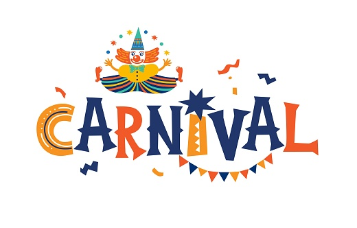 Carnival vector emblem, sign  with clowns, garland illustration in cartoon style on white background.