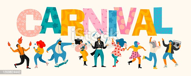 Carnival. Vector illustration of funny dancing men and women in bright modern costumes. Design element for carnival concept and other use.