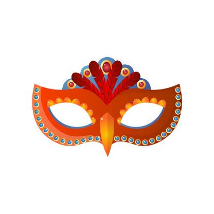 Carnival venecian mask unisex isolated on white background