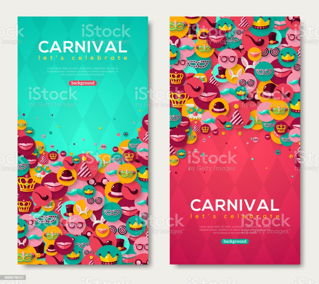 Carnival Vertical Banners With Flat Icons in Circles vector art illustration