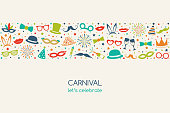 Carnival - vintage banner in retro style with funny elements. Vector.