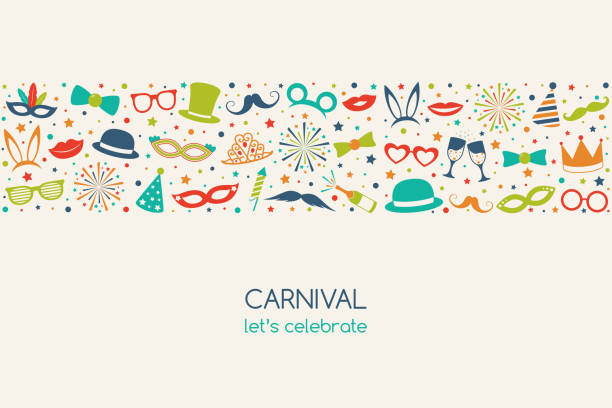 illustrations, cliparts, dessins animés et icônes de carnaval - bannière vintage dans un style rétro avec des éléments drôles. vector. - enfant masque