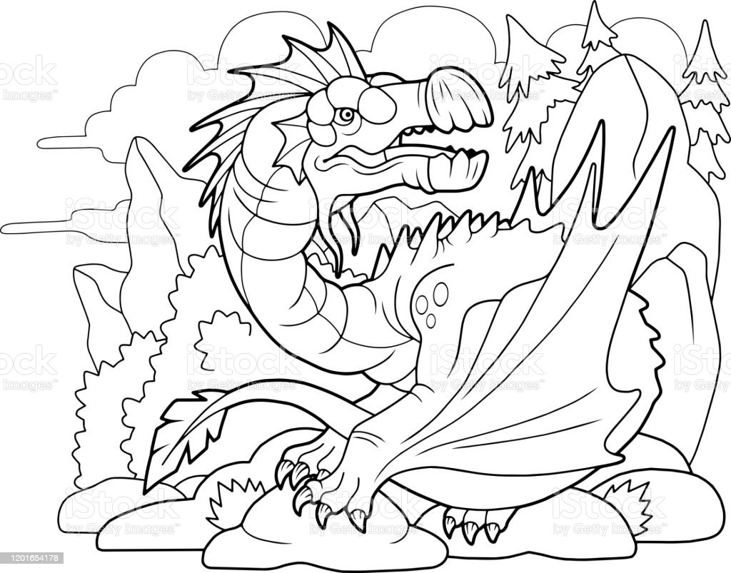- Carnivorous Dragon Coloring Book Funny Illustration Stock Illustration -  Download Image Now - IStock