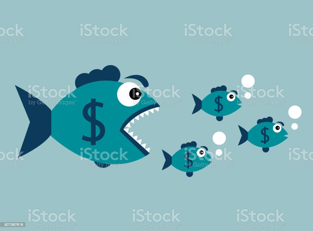 Carnivorous fish with dollar vector art illustration