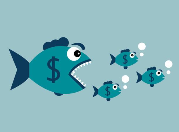 bildbanksillustrationer, clip art samt tecknat material och ikoner med köttätande fisk med dollar - chain studio