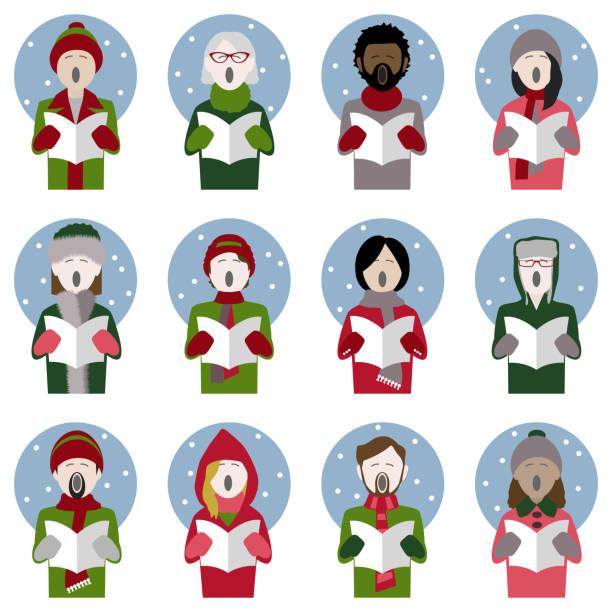 stockillustraties, clipart, cartoons en iconen met carol zangers in de sneeuw - tenor