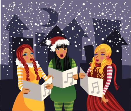 Carolers singers singing Christmas song