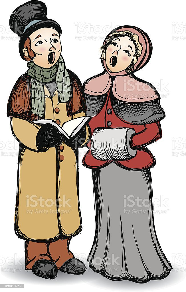 Carolers vector art illustration
