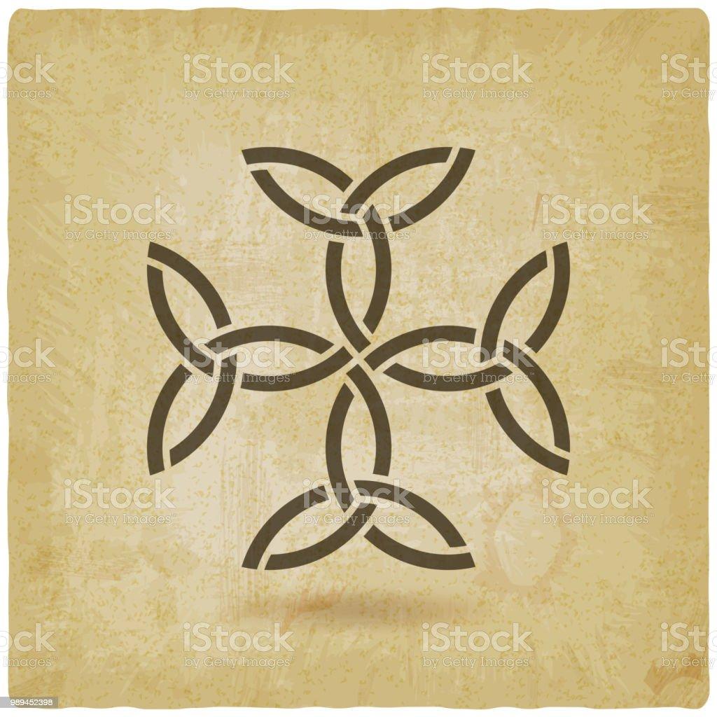 Karolingischen Kreuz Trinity Knoten Keltisches Symbol Stock Vektor