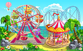 Amusement park on tropical beach. Carousel, ferris wheel, roller coaster. Vector illustration.