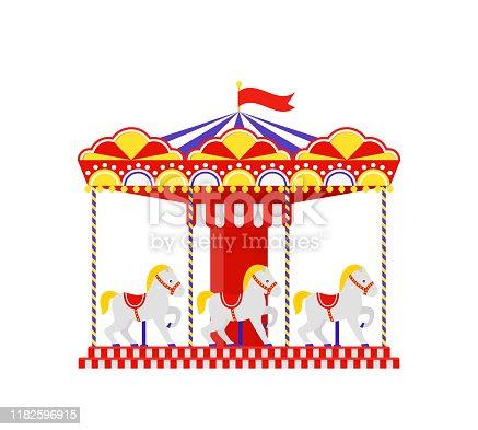 Carousel horse. Merry go round. Vector. Vintage amusement park carrousel. Funfair ride flat icon, isolated on white background. Cartoon illustration. Swinging playground.