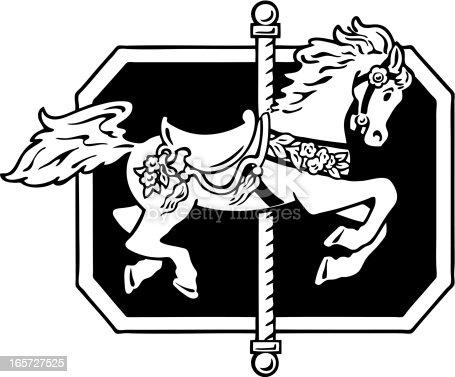 Carousel horse.  Hand drawn illustration.