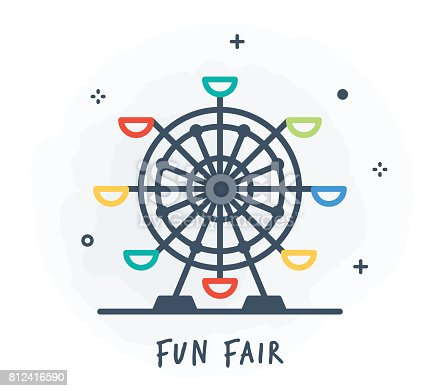 Line Style Vector Illustration for Fun Fair.