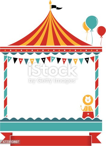A children's carousel with banner and lots of copy space to use as party invite, greeting card or menu.