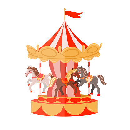 Carousel with horses isolated on a white background. Vector graphics.