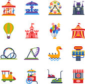 Carousels amusement attraction park side-show kids outdoor entertainment construction vector illustration