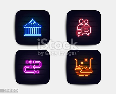 Neon glow lights. Set of Carousels, Methodology and Communication icons. Bumper cars sign. Attraction park, Development process, Business messages. Carousels.  Neon icons. Glowing light banners
