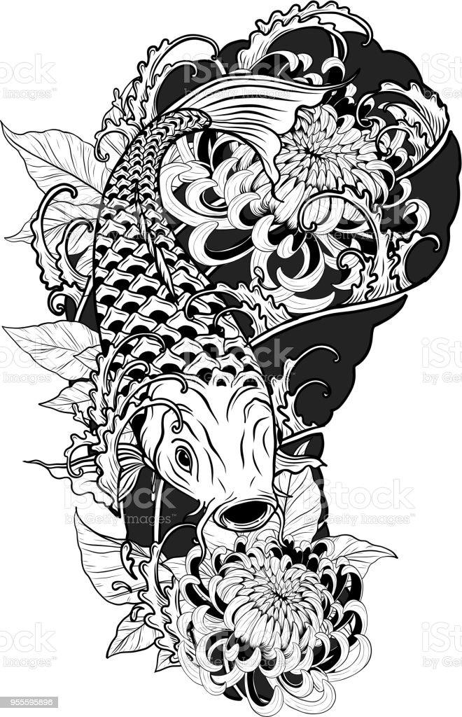 Carp fish and chrysanthemum tattoo by hand drawing vector art illustration
