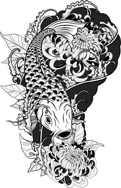 Karpfen Fischen und Chrysantheme Tattoo von Hand Zeichnen – Vektorgrafik