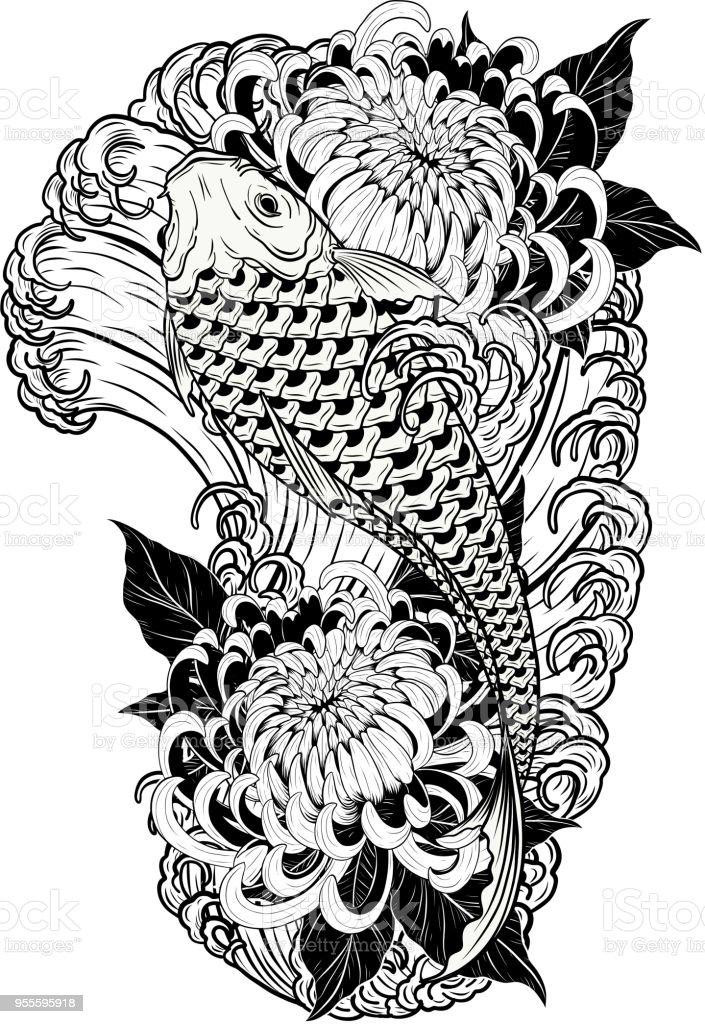 Karper Vis En Chrysant Tattoo Met De Hand Tekenen