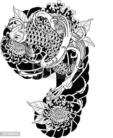 Ilustración de Carpa Pez Y Crisantemo Del Tatuaje De Dibujo A Mano y ...