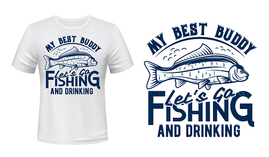 Carp fish print mockup, fishing sport club t-shirt