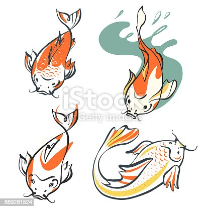 Carp Koi Set Of Four Image Fish Template Symbol Sketch Vector ...