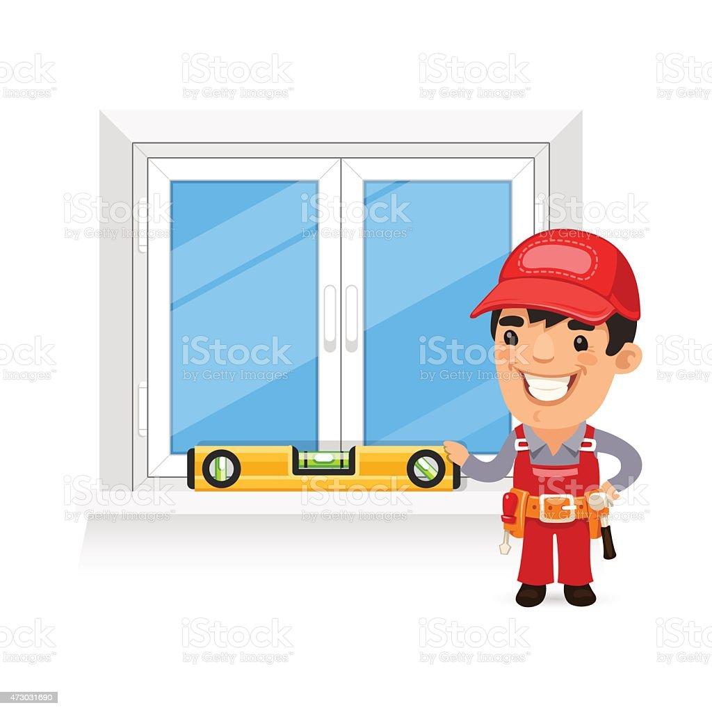 Carpenter Checks the New Window vector art illustration