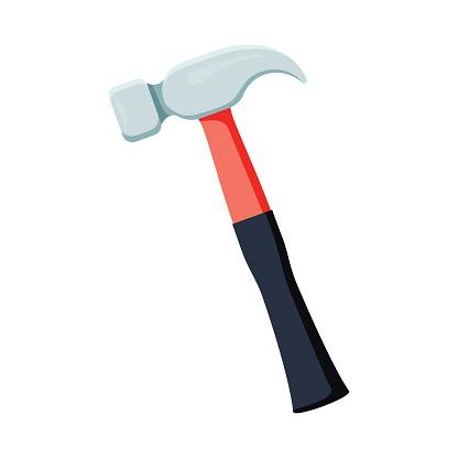 Carpenter hammer tool icon. Vector illustration in flat style