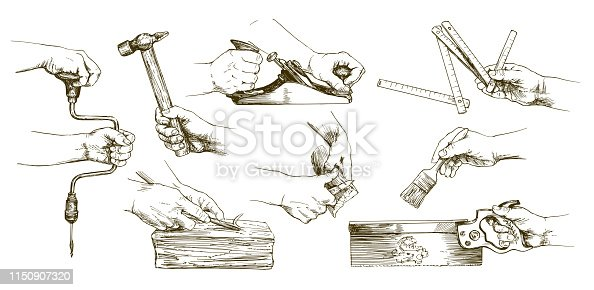 Carpenter hands working with a chisel and carving tools. Hand drawn set.