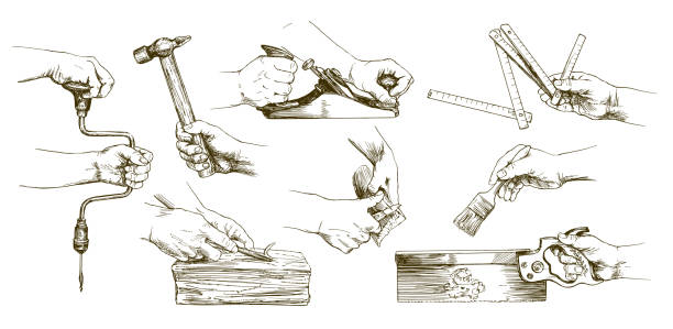 Carpenter hands working with a chisel and carving tools. Carpenter hands working with a chisel and carving tools. Hand drawn set. carpenter stock illustrations