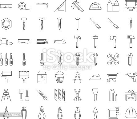 carpenter, handyman tool and equipment icon set, outline design