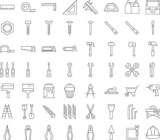 carpenter, handyman tool and equipment icon set, outline design - tools stock illustrations